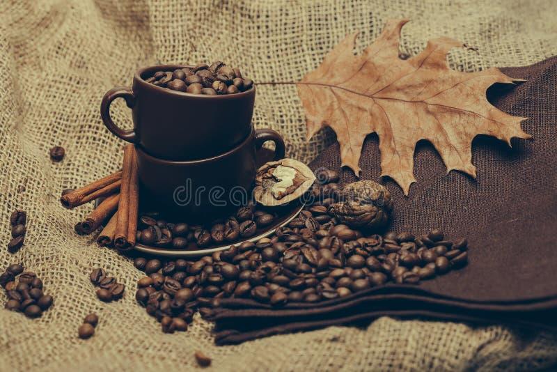 Kop met koffiebonen en eiken blad royalty-vrije stock afbeelding