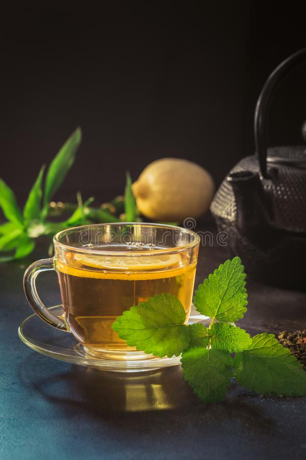 Kop met thee, munt en zwarte theepot op donkere achtergrond close-up Chinees theeconcept stock fotografie
