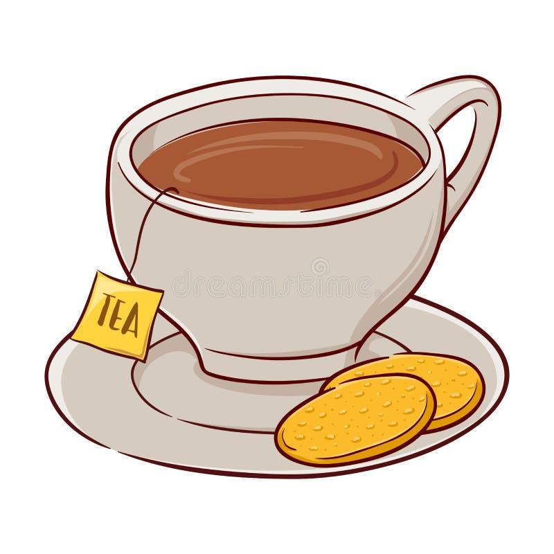 Kop thee en koekjes royalty-vrije illustratie