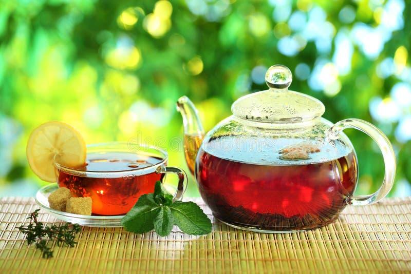 Kop thee en theepot. royalty-vrije stock afbeeldingen