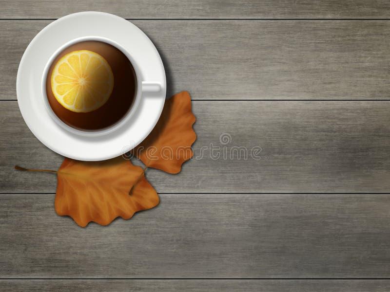 Kop thee met citroenplak Autumn Leaves stock afbeelding
