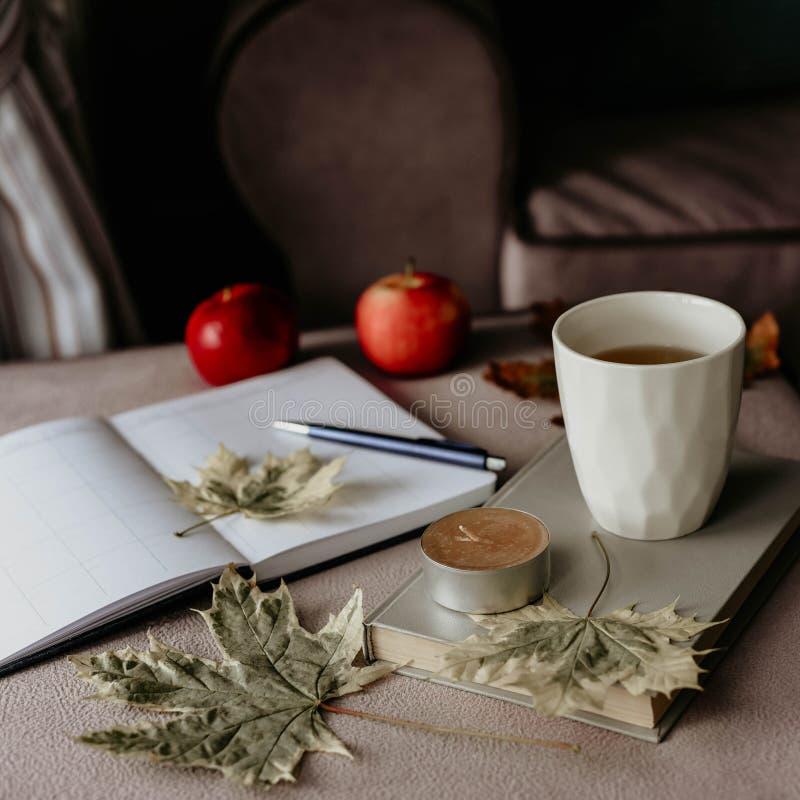 Kop thee met een boek in het binnenland met de herfstblad, noteboo stock fotografie