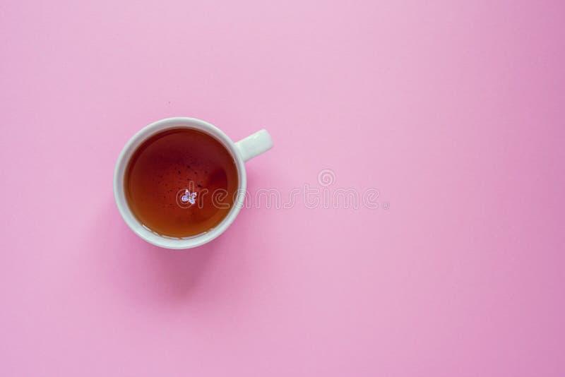 Kop thee met lilac bloem op een roze achtergrond stock afbeeldingen