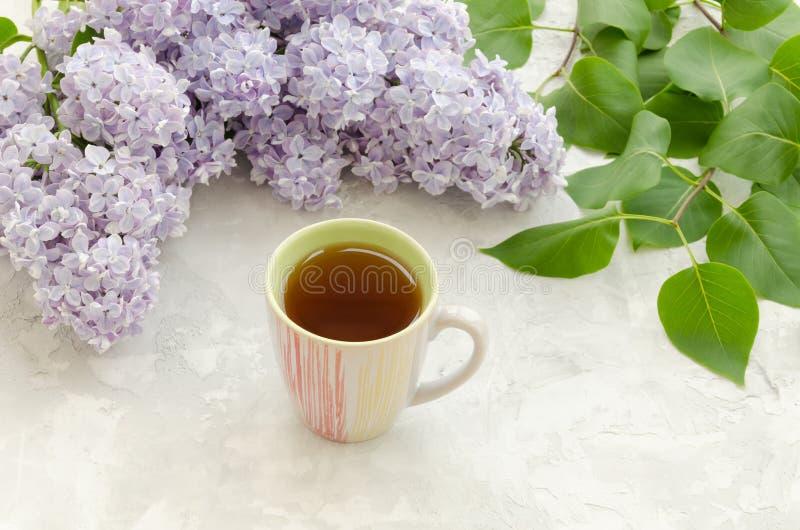 Kop thee met lilac bloemen stock foto's