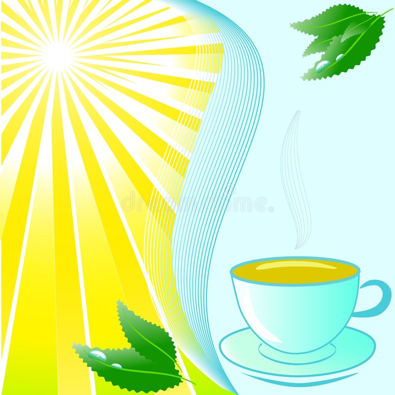 Kop thee met munt op mooie zonnige achtergrond