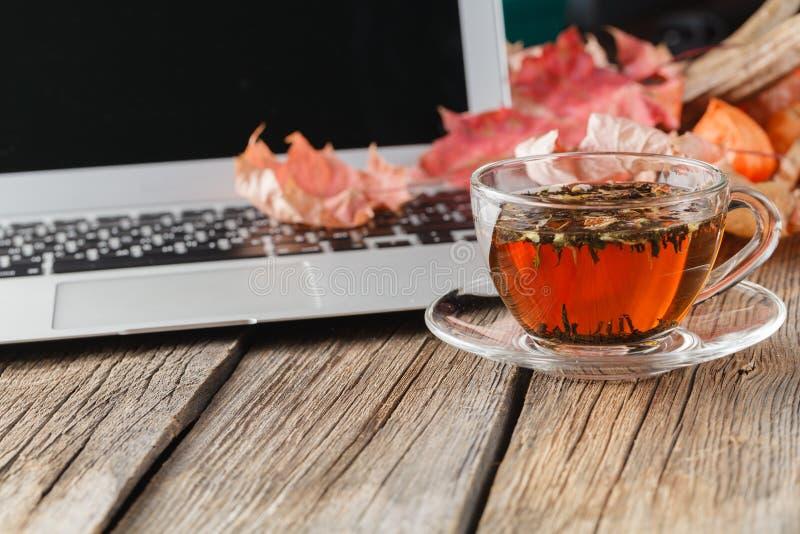 Kop van aftreksel op lijst met laptop royalty-vrije stock afbeeldingen