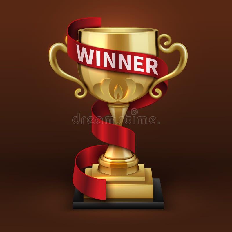 Kop van de kampioens de gouden trofee met rood winnaarlint Het vectorconcept van het sportenkampioenschap stock illustratie
