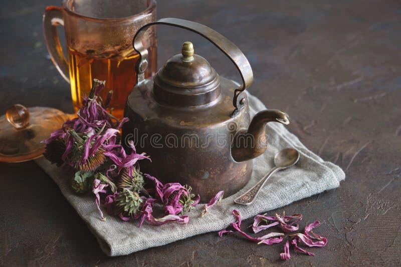 Kop van gezonde echinaceathee, droge coneflowerkruiden en retro theepot royalty-vrije stock foto