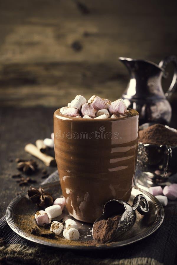 Kop van hete chocolade met miniheemst stock afbeeldingen
