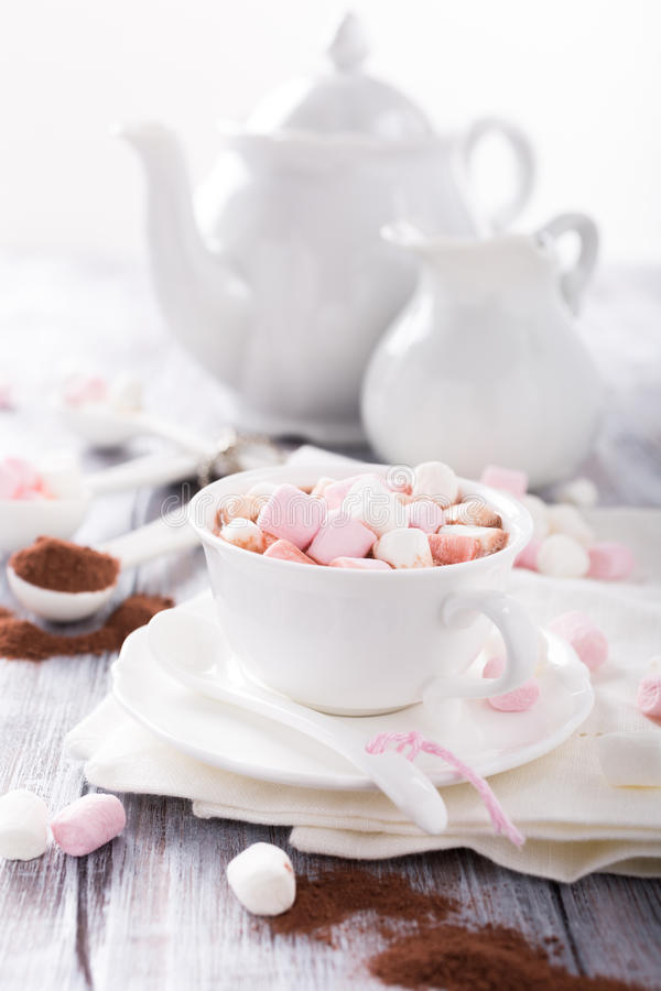 Kop van hete chocolade met miniheemst royalty-vrije stock afbeelding