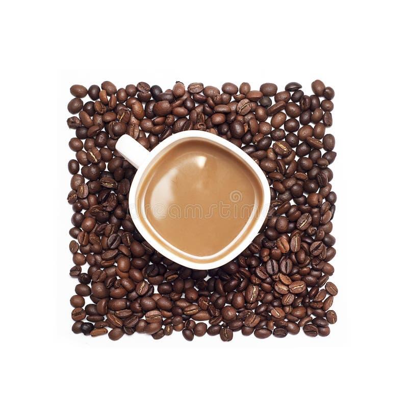 Kop van koffie door koffiebonen die wordt omringd stock foto's