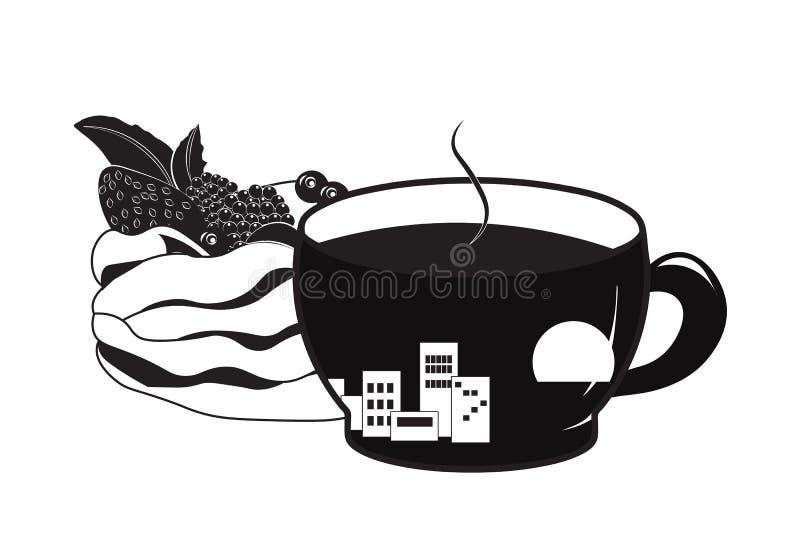 Kop van koffie en cakepavlova royalty-vrije illustratie