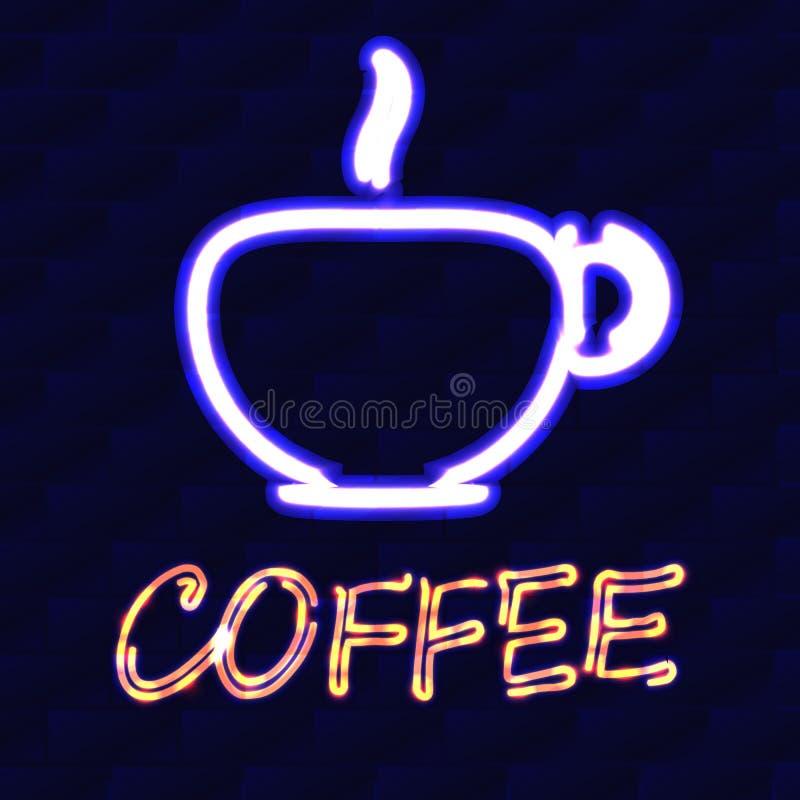 Kop van koffie en de woordkoffie met neoneffect op een achtergrond van een bakstenen muur Vector illustratie stock illustratie
