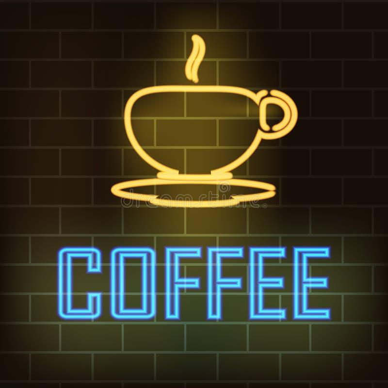 Kop van koffie en de woordkoffie met neoneffect op een achtergrond van een bakstenen muur Vector illustratie vector illustratie