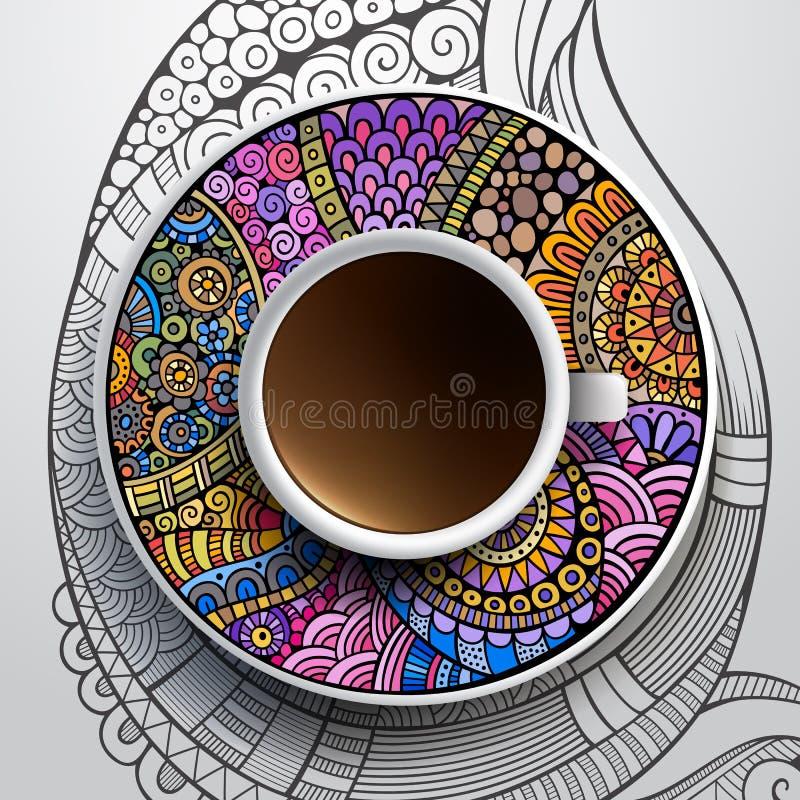 Kop van koffie en hand getrokken bloemenornament stock illustratie