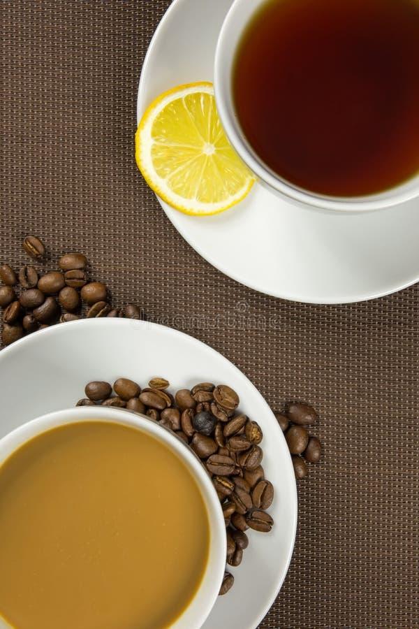 Kop van koffie en thee stock fotografie