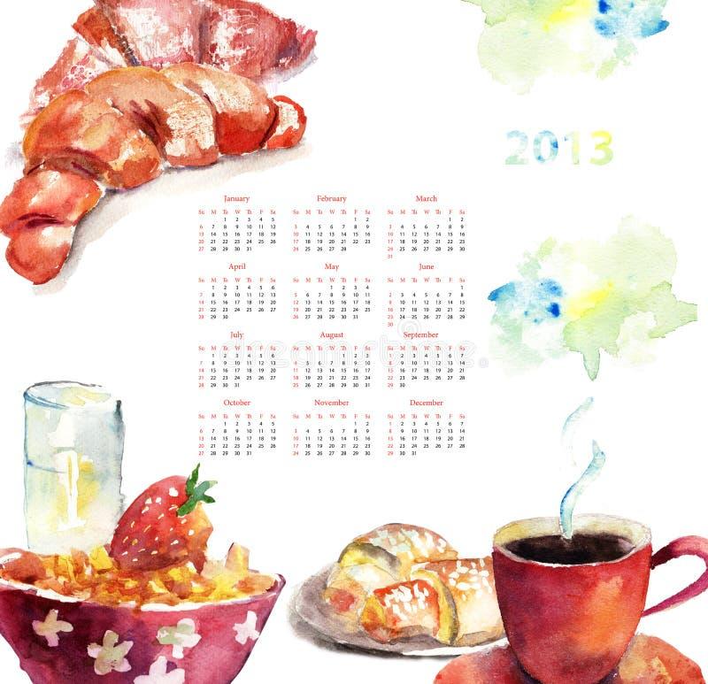 Kop van koffie met broodjes, Kalender voor 2013 royalty-vrije illustratie