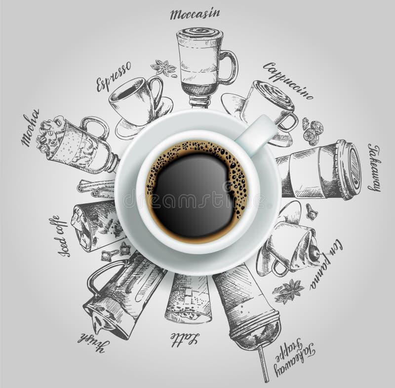 Kop van koffie met de vector creatieve illustratie van koffiedranken royalty-vrije illustratie