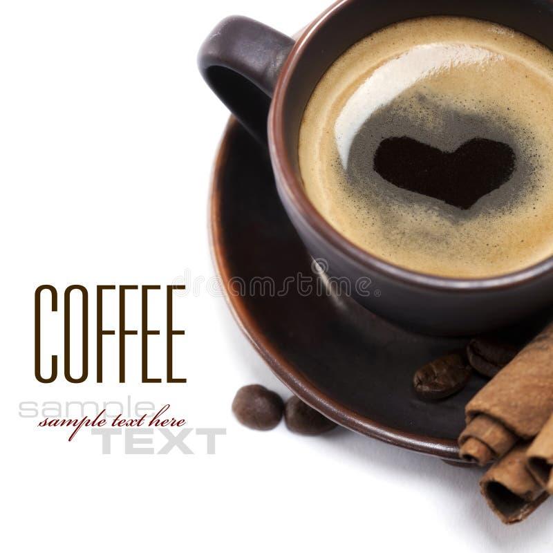 Kop van Koffie met Hart stock afbeelding