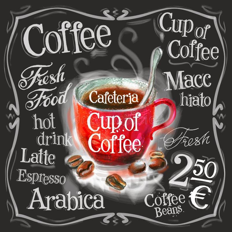 Kop van koffie, ontwerp van het espresso het vectorembleem stock illustratie