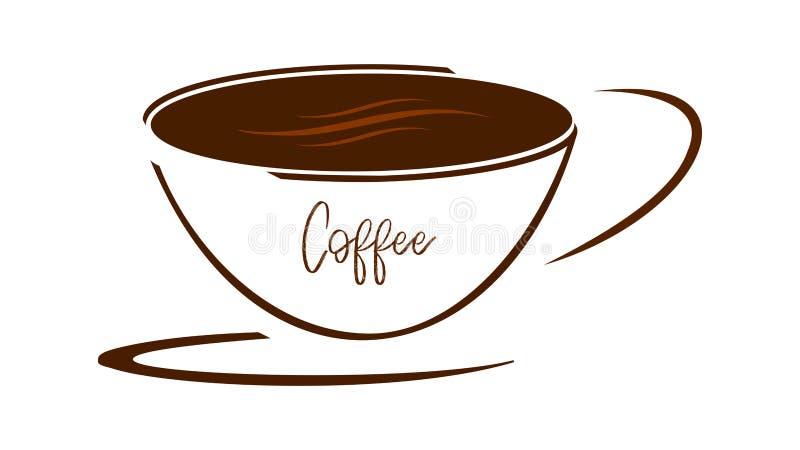 Kop van koffie op een schotel vector illustratie