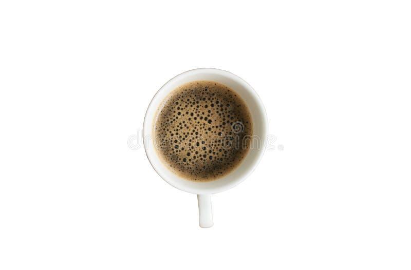 Kop van koffie op geïsoleerde achtergrond in bovenkant royalty-vrije stock foto