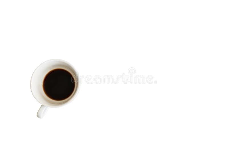 Kop van koffie op ge?soleerde achtergrond in bovenkant stock afbeelding