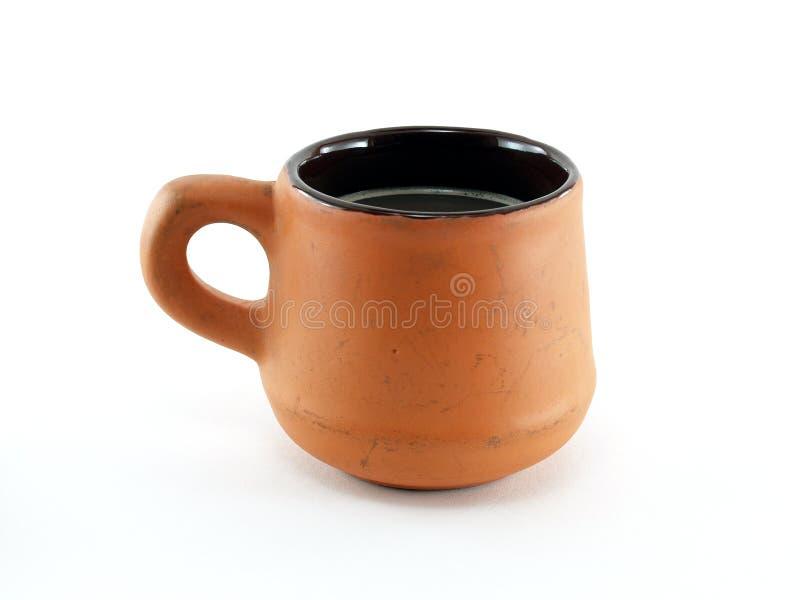 Kop van koffie op witte achtergrond wordt geïsoleerd die stock afbeelding