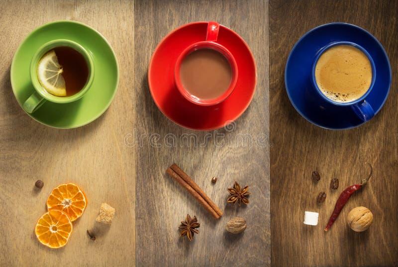 Kop van koffie, thee en cacao royalty-vrije stock afbeelding