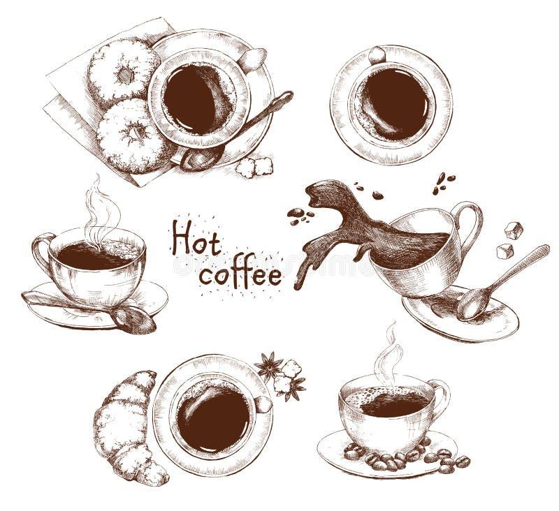 Kop van koffiereeks vector illustratie