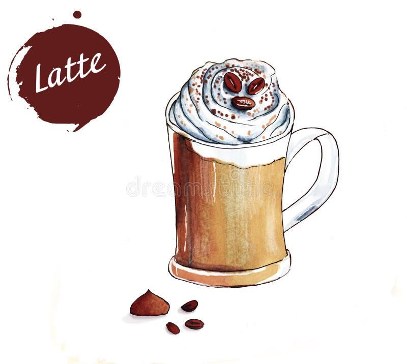 Kop van latte royalty-vrije illustratie