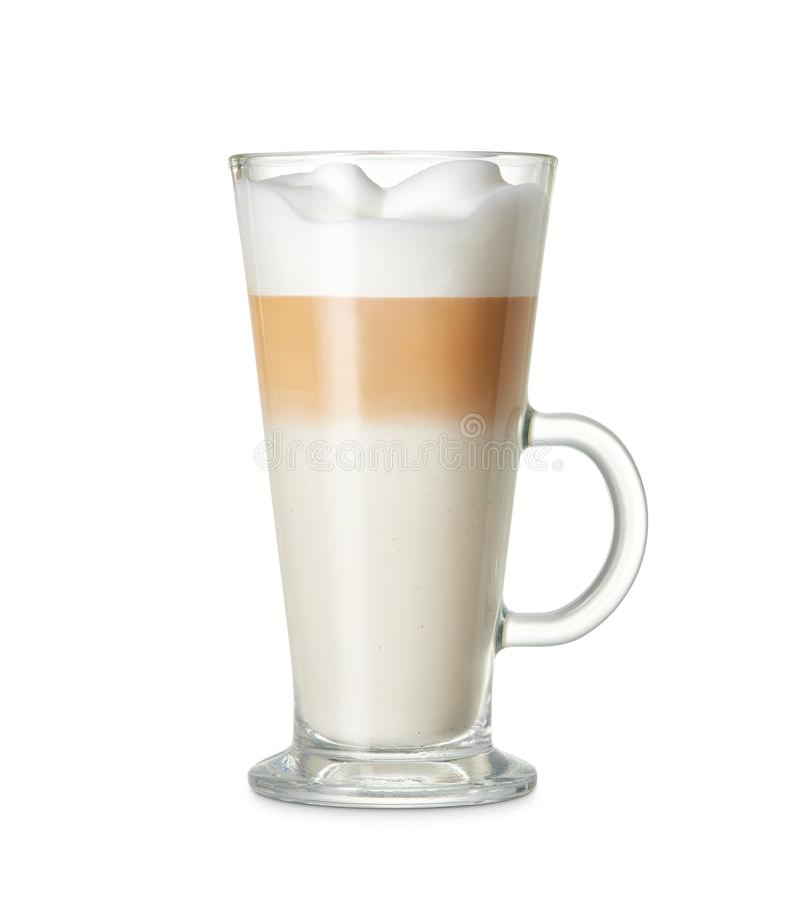 Kop van lattemacchiato royalty-vrije stock afbeelding