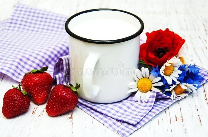 Kop van melk royalty-vrije stock foto's