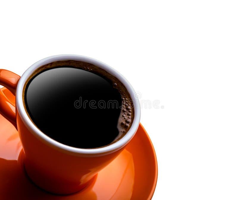 Kop van zwarte koffie die op wit wordt geïsoleerdr stock fotografie