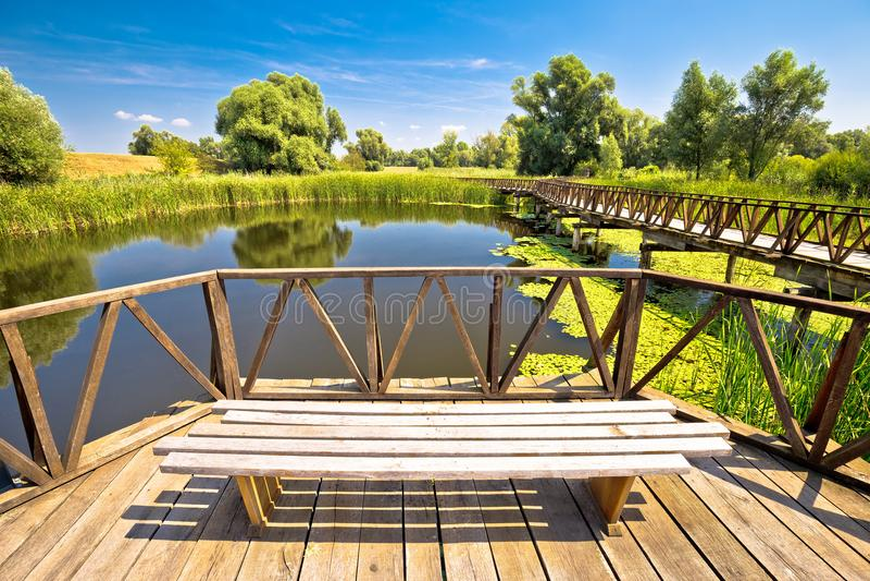 Kopacki Rit marshes nature park bird observation deck and wooden. Boardwalk, Baranja region of Croatia stock photography
