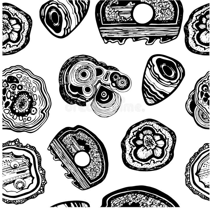 Kopalina dryluje bezszwowy deseniowy pociągany ręcznie czarny i biały ilustracja wektor
