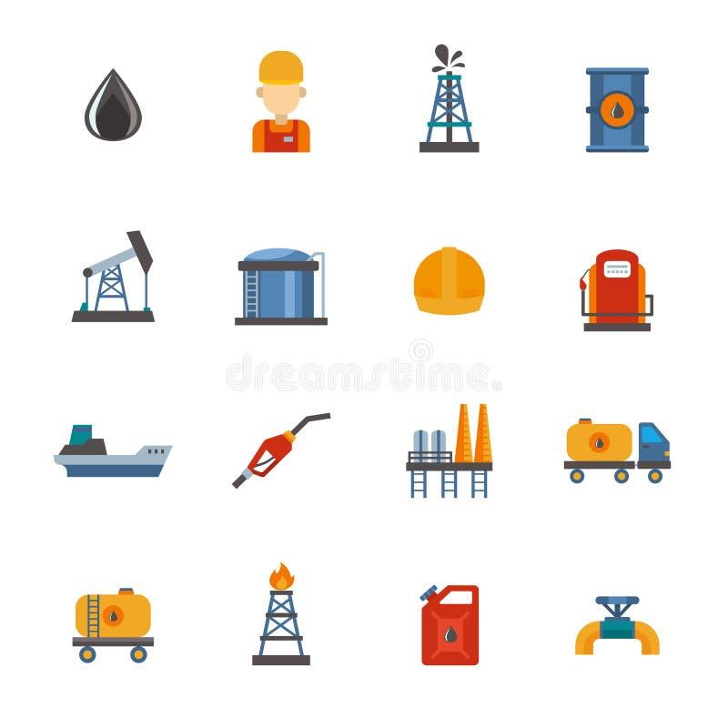 Kopalnego oleju ponaftowa ekstrakcja, produkcja, transportu fabrycznego logistycznie wyposażenia wektorowe ikony ilustracyjne ilustracja wektor