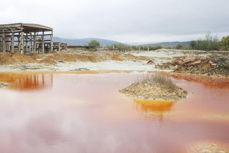 Kopalni Miedzi substanci chemicznej odpady staw suchego klimatu katastrofa naturalny Thailand zdjęcia stock