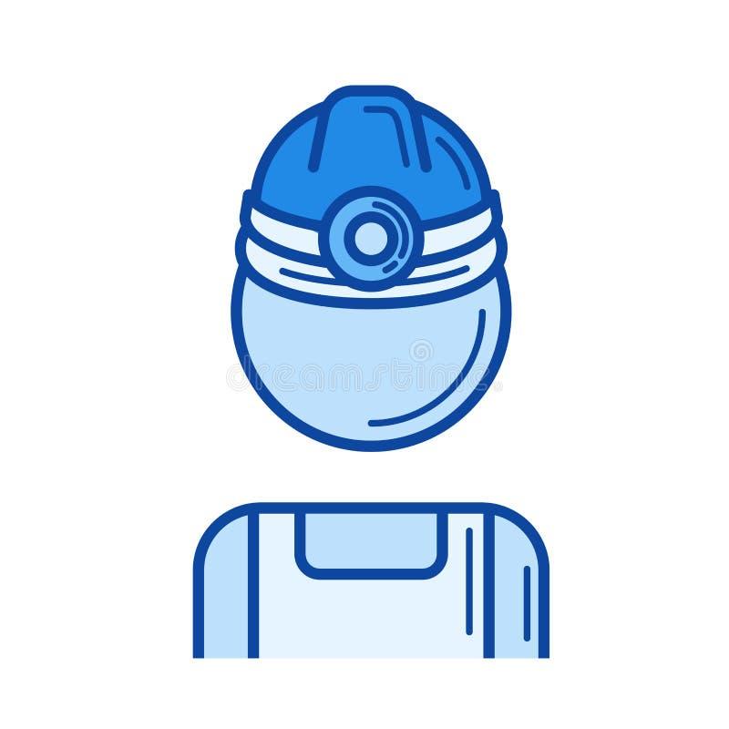 Kopalnianego pracownika linii ikona ilustracja wektor