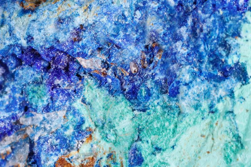 Kopalny azuryt Tekstura kopalina Makro- strzelanina naturalny gemstone Surowa kopalina abstrakcyjny tło obrazy stock