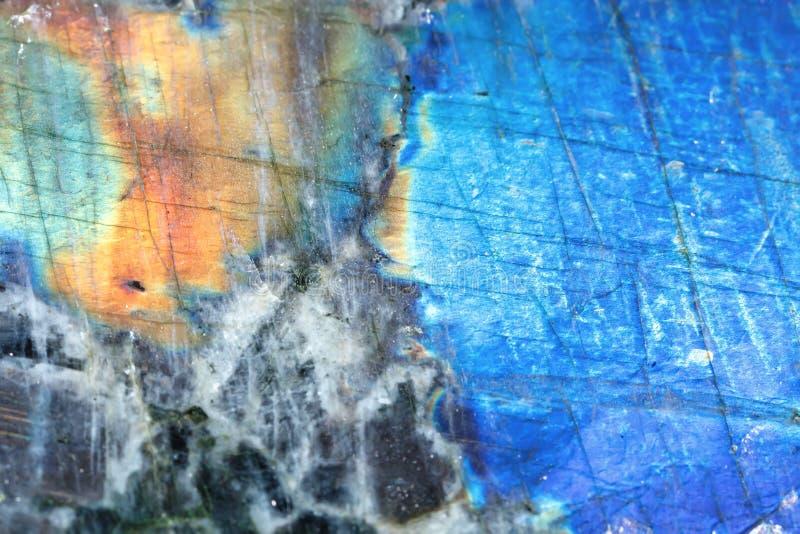 Kopalny labrador Tekstura kopalina Makro- strzelanina naturalny gemstone Surowa kopalina abstrakcyjny tło obraz stock