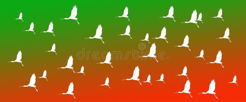 Kopbal Achtergrondvogels Europees-Aziatische Spoonbills op Groene Oranje Gradiëntachtergrond stock foto's