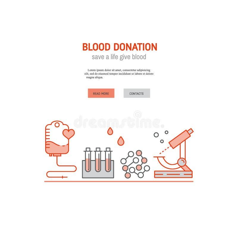 Kopbal of banner met bloeddonatieconcept vector illustratie