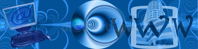 Kopbal: Elektronische handel en aanslutingen wereldwijd vector illustratie