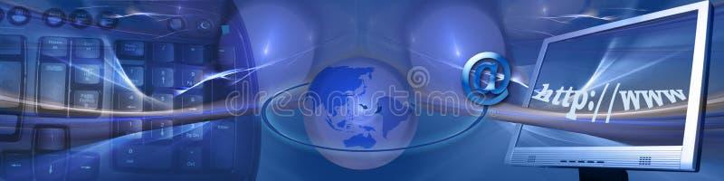 Kopbal: Technologie en snelle Internet aanslutingen stock illustratie