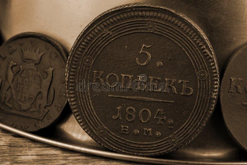 5 kopecks 1804 jaar van het Russische Imperium zeldzame zeldzame muntstuk in de inzameling van de antiquair stock afbeelding