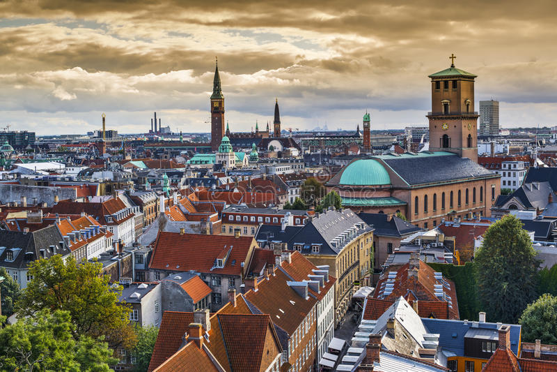 Kopenhaga, Dani linia horyzontu obraz royalty free