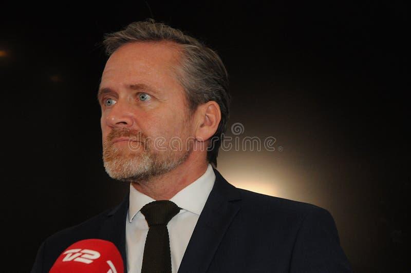 Kopenhaga, Dani 15/ Listopad 2018 Dani trzy ministrów Anders Samuelsen duński minister dla cudzoziemskiego - sprawy Służą dla zdjęcia stock