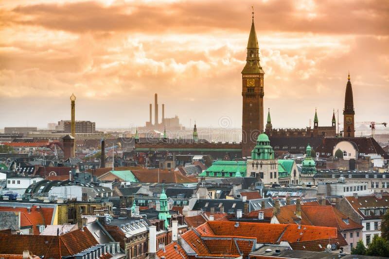 Kopenhaga, Dani pejzaż miejski obraz stock