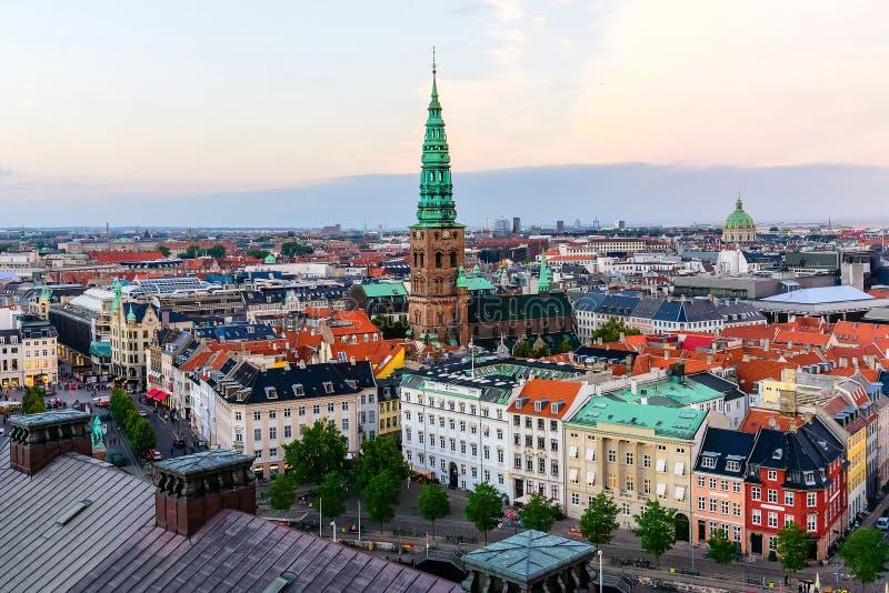 Kopenhaga linii horyzontu Panoramiczny pejzaż miejski obrazy royalty free